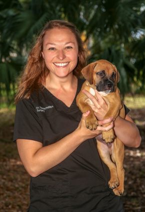 Dr. Tessa Phillips is a resident in our surgery service. She is holding a tan puppy in her arms.