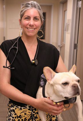Dr. Brooke Britton is board certified in veterinary oncology. Here she is with her French bulldog.