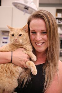 A blond Veterinary Relations Representative holds an orange tabby cat.