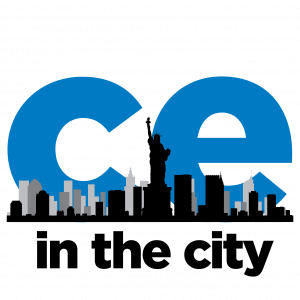 Trendy logo with NYC skyline in front of blue CE.