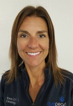 Karen Wiley is a certified veterinary technician with additional board certification in cardiology.