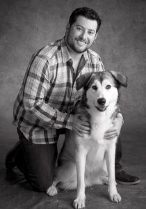 Matthew Levinson is a doctor in our dermatology service. He is with his dog.