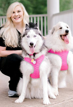 Dr. Kimberly Smart is a small animal medicine and surgery intern. She is with her two dogs who are wearing pink harnesses.