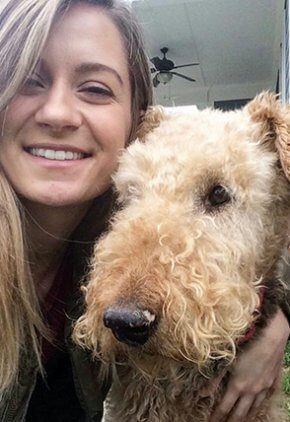 Dr. Taylor Wickware is a small animal medicine and surgery intern. She is with her Airedale terrier.
