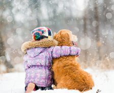 A girl in a purple coat hugs a Golden Retriever next to her while sitting in the snow.