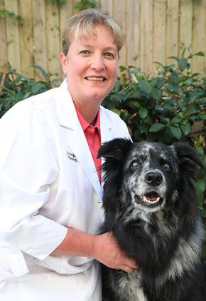 Dr. Kara Knight is board certified in veterinary neurology. She is hugging a black and gray dog.