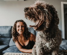 Woman sits behind curly-haired dog smiling while the dog yawns