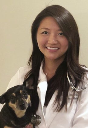 Dr. Joyce Ho is an emergency medicine veterinarian. She is holding a small black dog.