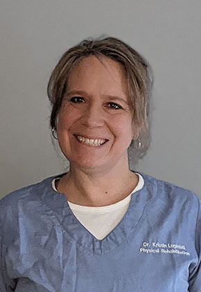 Dr. Kristin Luginbill is certified in canine rehabilitation.