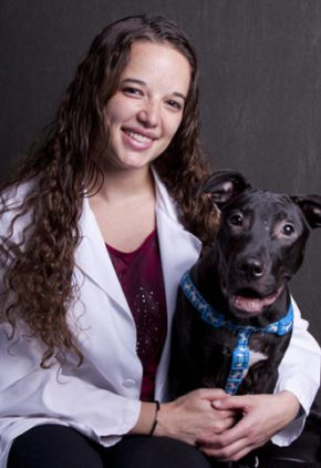 Dr. Brittany Sinclair is board certified in veterinary emergency and critical care medicine. She is holding a large black dog on her lap.