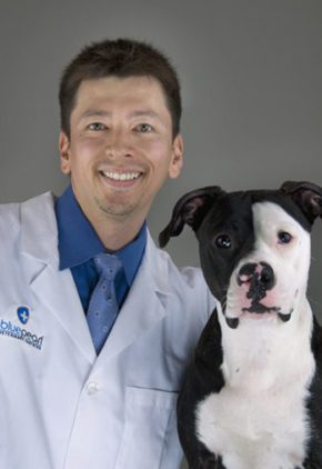 Dr. Michael Kimura is board certified in veterinary neurology. He is sitting with a large black and white dog.