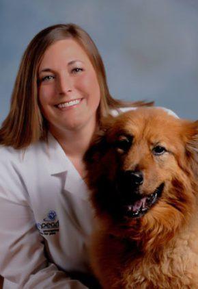 Dr. Jodi Hayes is an emergency medicine veterinarian. She is with a large red dog.