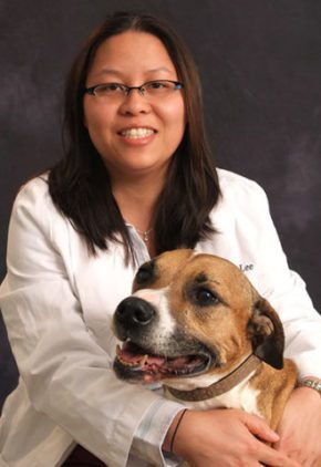 Dr. Loretta Lee is an emergency medicine veterinarian. She is sitting with a large mixed breed dog.