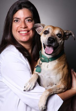 Dr. Nicole Pacifico is board certified in veterinary internal medicine. She is holding a dog in her arms.