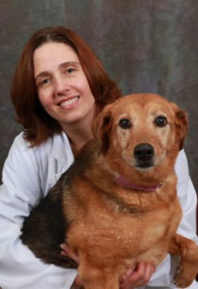 Dr. Michelle Rose is board certified in veterinary radiology. She is holding a large mixed breed dog.