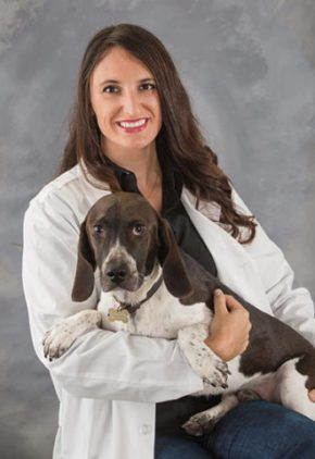 Dr. Rachel L'Heureux is an emergency medicine veterinarian. She is holding a large brown and white dog.