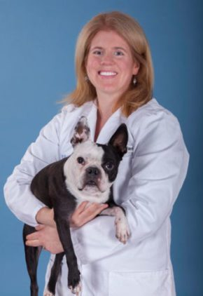 Dr. Heather Chalfant is an emergency medicine veterinarian. She is holding a black and white dog.