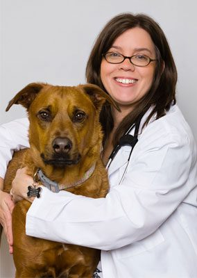 Dr. Kelly Ross is an emergency medicine veterinarian. She is hugging a large brown dog.